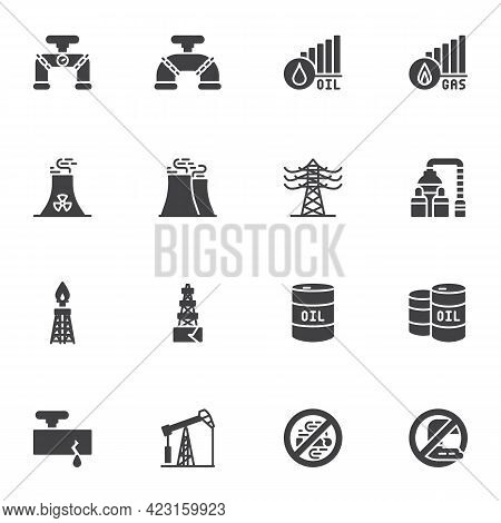 Oil And Gas Industry Vector Icons Set, Modern Solid Symbol Collection, Filled Style Pictogram Pack.