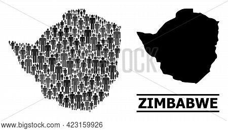 Map Of Zimbabwe For Demographics Doctrines. Vector Nation Collage. Concept Map Of Zimbabwe Construct