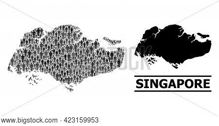 Map Of Singapore For Political Agitprop. Vector Population Collage. Mosaic Map Of Singapore Combined