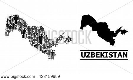 Map Of Uzbekistan For Social Doctrines. Vector Population Abstraction. Composition Map Of Uzbekistan