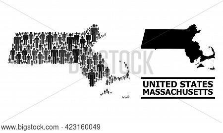 Map Of Massachusetts State For Social Applications. Vector Nation Mosaic. Mosaic Map Of Massachusett