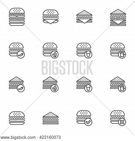 Burger And Sandwich Menu Line Icons Set, Outline Vector Symbol Collection, Linear Style Pictogram Pa