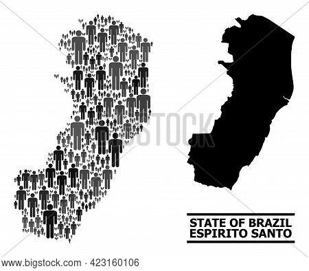 Map Of Espirito Santo State For Social Propaganda. Vector Nation Collage. Concept Map Of Espirito Sa