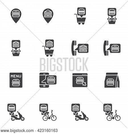 Fast Food Ordering Vector Icons Set, Modern Solid Symbol Collection, Filled Style Pictogram Pack. Si