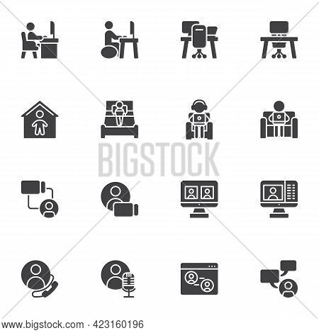 Work From Home Vector Icons Set, Modern Solid Symbol Collection, Filled Style Pictogram Pack. Signs,