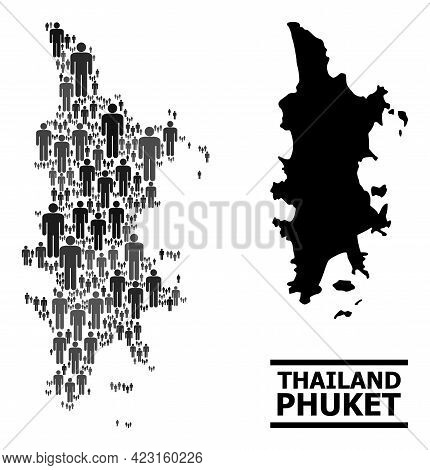 Map Of Phuket For Political Projects. Vector Population Abstraction. Mosaic Map Of Phuket Done Of Po