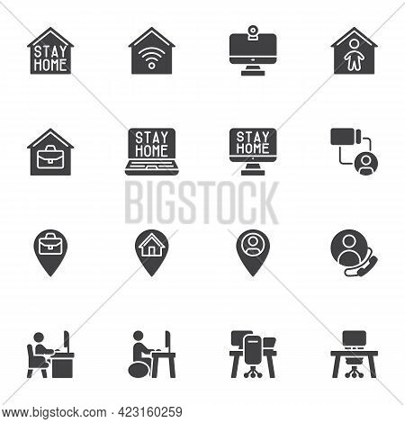 Stay Home Vector Icons Set, Work From Home Modern Solid Symbol Collection, Freelance Filled Style Pi