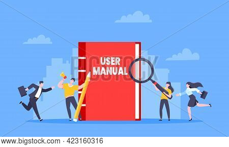 User Manual Guide Book Flat Style Design Vector Illustration. Tiny People And Guidance Manual Instru
