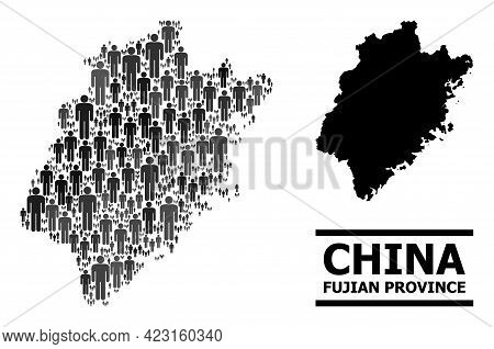 Map Of Fujian Province For Political Proclamations. Vector Population Collage. Concept Map Of Fujian