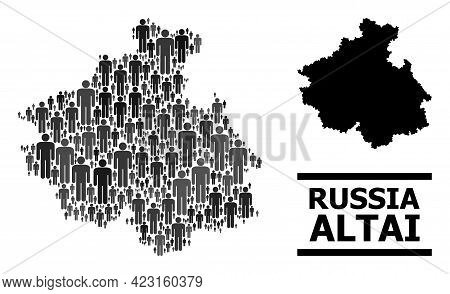 Map Of Altai Republic For Demographics Applications. Vector Population Abstraction. Abstraction Map