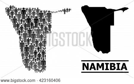 Map Of Namibia For Demographics Projects. Vector Population Collage. Pattern Map Of Namibia Done Of