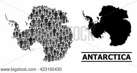 Map Of Antarctica For Demographics Propaganda. Vector Population Abstraction. Abstraction Map Of Ant
