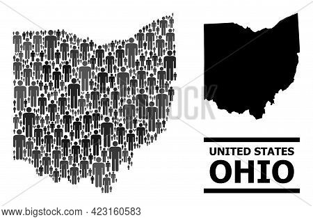 Map Of Ohio State For Demographics Projects. Vector Population Abstraction. Collage Map Of Ohio Stat