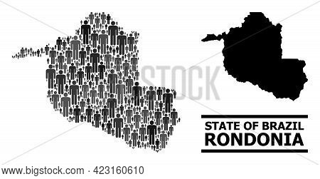 Map Of Rondonia State For Social Agitprop. Vector Population Collage. Collage Map Of Rondonia State