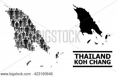 Map Of Koh Chang For Demographics Applications. Vector Demographics Collage. Composition Map Of Koh