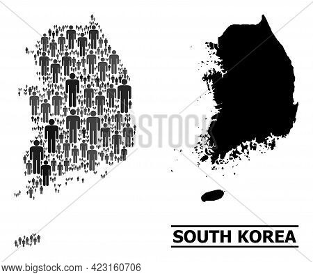 Map Of South Korea For Social Doctrines. Vector Demographics Collage. Abstraction Map Of South Korea