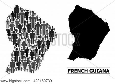 Map Of French Guiana For Demographics Agitprop. Vector Demographics Collage. Collage Map Of French G
