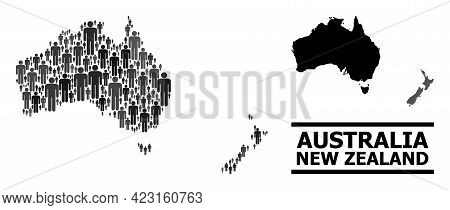 Map Of Australia And New Zealand For National Proclamations. Vector Population Mosaic. Concept Map O