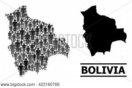 Map Of Bolivia For Social Agitprop. Vector Demographics Collage. Concept Map Of Bolivia Done Of Soci