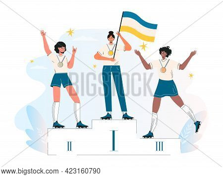 Competition Winner, Champion Or Leader, Triumph. Ceremony Of Awarding Medals. Three Female Athletes