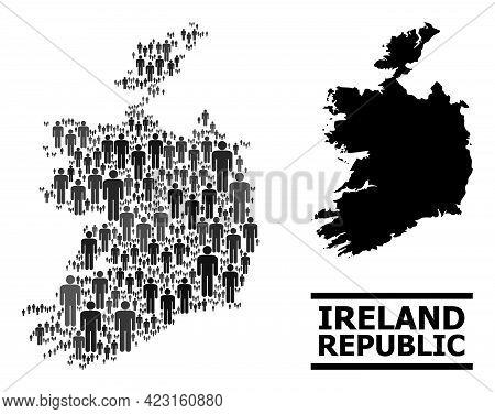 Map Of Ireland Republic For Demographics Posters. Vector Demographics Mosaic. Concept Map Of Ireland