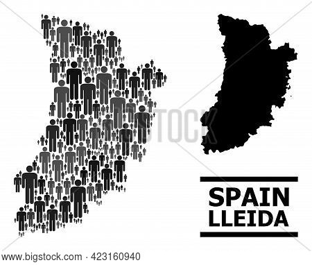 Map Of Lleida Province For Demographics Promotion. Vector Demographics Mosaic. Abstraction Map Of Ll