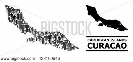 Map Of Curacao Island For Political Purposes. Vector Population Abstraction. Abstraction Map Of Cura