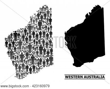 Map Of Western Australia For Social Promotion. Vector Demographics Collage. Collage Map Of Western A
