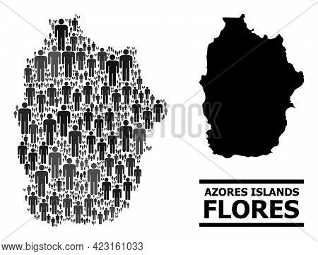 Map Of Azores - Flores Island For Political Applications. Vector Demographics Abstraction. Concept M
