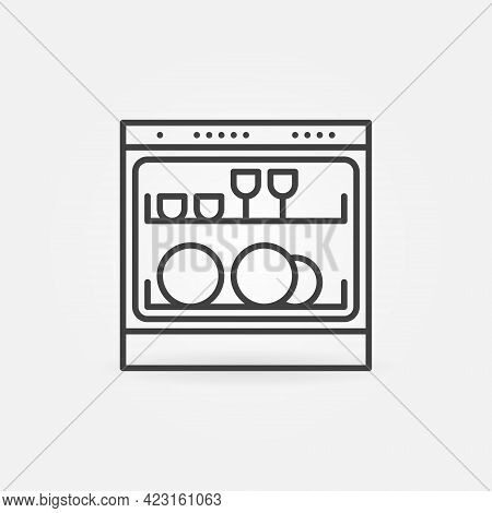 Dishwasher Vector Thin Line Concept Icon Or Symbol