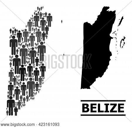 Map Of Belize For National Agitprop. Vector Population Abstraction. Abstraction Map Of Belize Done O