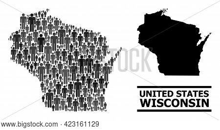 Map Of Wisconsin State For Demographics Projects. Vector Demographics Mosaic. Abstraction Map Of Wis