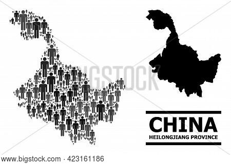 Map Of Heilongjiang Province For Demographics Promotion. Vector Demographics Abstraction. Pattern Ma