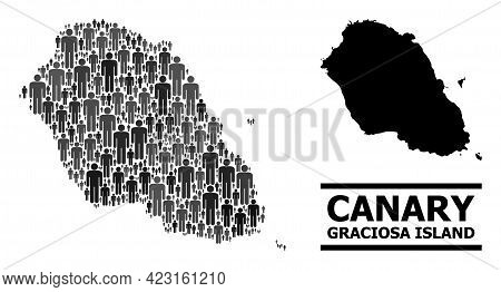 Map Of Graciosa Island For Demographics Proclamations. Vector Population Mosaic. Concept Map Of Grac