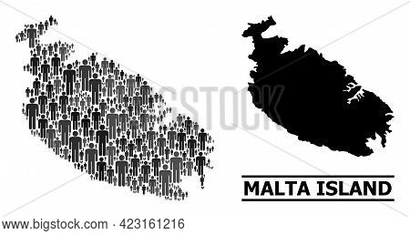 Map Of Malta Island For Political Doctrines. Vector Population Collage. Concept Map Of Malta Island