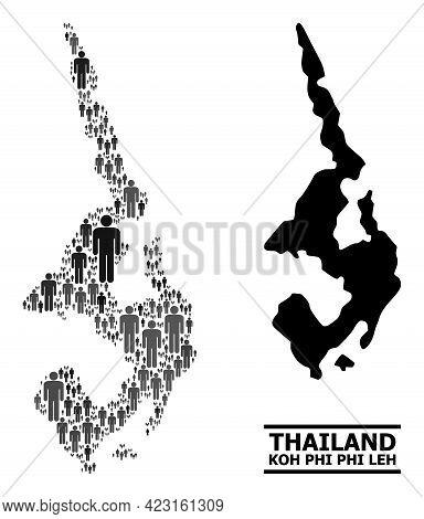 Map Of Koh Phi Leh For Political Purposes. Vector Demographics Collage. Collage Map Of Koh Phi Leh C