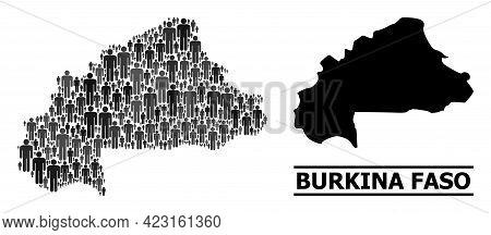 Map Of Burkina Faso For Politics Proclamations. Vector Population Mosaic. Mosaic Map Of Burkina Faso