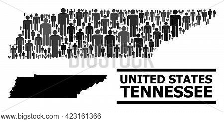 Map Of Tennessee State For Politics Doctrines. Vector Population Abstraction. Concept Map Of Tenness