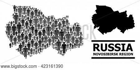Map Of Novosibirsk Region For Social Purposes. Vector Population Mosaic. Pattern Map Of Novosibirsk