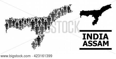 Map Of Assam State For Demographics Applications. Vector Demographics Collage. Composition Map Of As