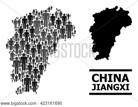 Map Of Jiangxi Province For Demographics Applications. Vector Demographics Collage. Mosaic Map Of Ji