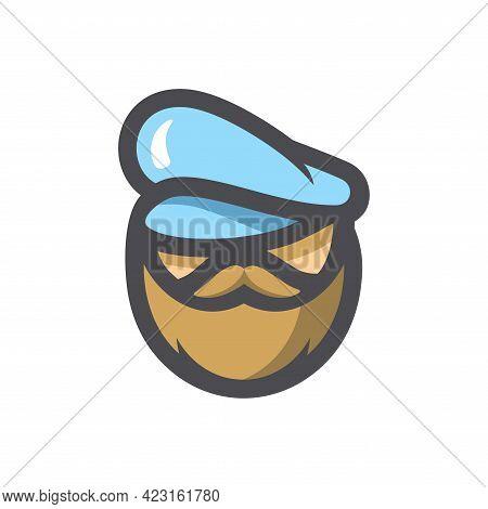 Sea Captain Seafarer Vector Icon Cartoon Illustration