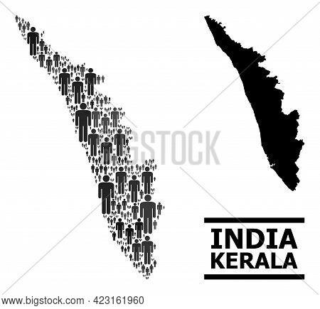 Map Of Kerala State For Demographics Agitprop. Vector Demographics Mosaic. Mosaic Map Of Kerala Stat