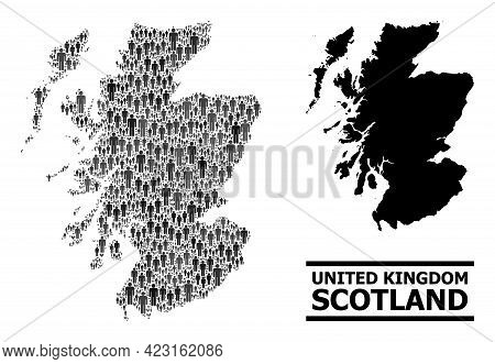 Map Of Scotland For National Applications. Vector Demographics Collage. Collage Map Of Scotland Done
