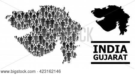 Map Of Gujarat State For Demographics Agitation. Vector Demographics Abstraction. Abstraction Map Of