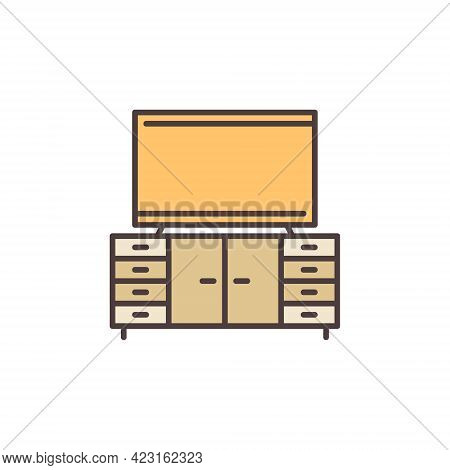 Tv On Cupboard Colored Icon - Vector Concept Sign