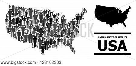 Map Of Usa For Politics Doctrines. Vector Nation Abstraction. Abstraction Map Of Usa Combined Of Soc