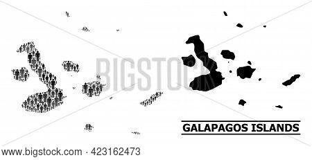 Map Of Galapagos Islands For Social Agitation. Vector Population Abstraction. Pattern Map Of Galapag