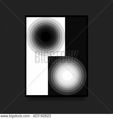 Black And White Geometric Poster. Swiss Graphic. Gradient Circles On Contrast Background. Vector Ill