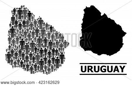 Map Of Uruguay For Demographics Projects. Vector Demographics Collage. Concept Map Of Uruguay Design